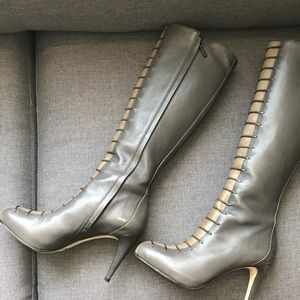 Cole Haan Gray, creme feaux lace up leather boots